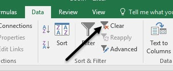 clear filter in excel