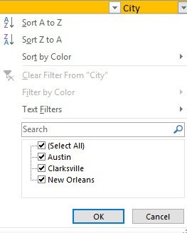 filter options excel