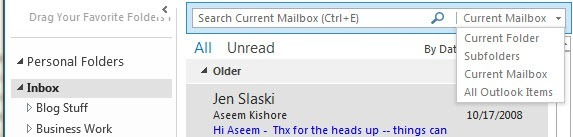 search box outlook